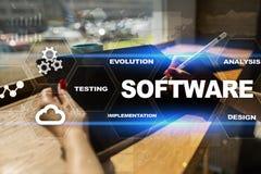 Software-ontwikkeling Concept van de het Systeemtechnologie van gegevens het Digitale Programma's stock foto's