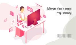 Software-ontwikkeling programmeringsconcept, isometrische illustratie royalty-vrije illustratie