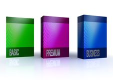 Software packages service. Colorful software packages isolated on white background Royalty Free Stock Photo