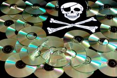 Software piracy. Cd and word of piracy, concept of illegal copy Stock Photos