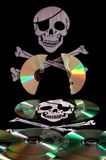 Software piracy. Cd and word of piracy, concept of illegal copy Stock Photo