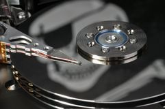 Software piracy. Hard drive and word of piracy, concept of illegal copy Royalty Free Stock Photography