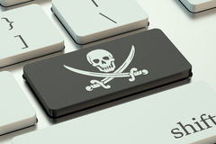 Software piracy concept, on the computer keyboard Royalty Free Stock Photography