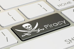 Software piracy concept, on the computer keyboard. 3D rendering Stock Photos