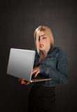 Software Pirate. Young lady with eye-patch as a software pirate Stock Photo