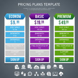 Software Pricing Plans Template. Software econom basic and premium pricing plans template on grey background flat vector illustration Stock Photo