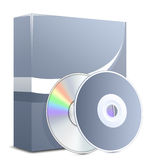 Software product in box. Software box with disks. Vector Illustration Royalty Free Stock Photography