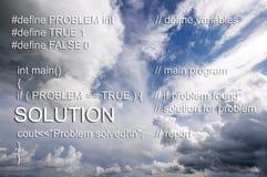 Software program source code of solving problem concept Stock Photos