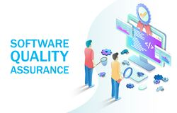 Software quality assurance vector concept for web banner, website page. Software quality assurance vector isometric illustration. Software testing, programming vector illustration