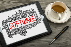Software with related word cloud Royalty Free Stock Photography