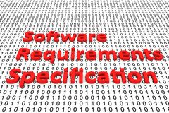 Software requirements specification. In the form of binary code, 3D illustration Stock Images