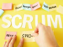 Free Software Scrum Agile Board With Paper Task, Agile Software Development Methodologies Concept Stock Image - 197492991