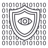 Software security,anti virus vector line icon, sign, illustration on background, editable strokes Stock Image