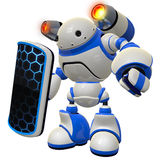 Software Security Robot Firewall Concept on Guard. A cool concept of a firewall robot, standing vigilent ready to knock down any threat coming your way Stock Photo