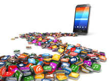 Software. Smartphone or mobile phone app icons background. Royalty Free Stock Photos