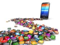software Smartphone o fondo delle icone di app del telefono cellulare Fotografie Stock Libere da Diritti