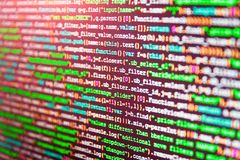 Software source code. Source code close-up. Writing programming code on laptop. Abstract source code background stock images