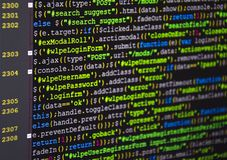 Software source code. Freeware open source project. Developing programming and coding technologies. Software source code. CSS, Jav. Software developer stock photos