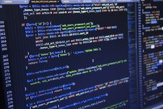 Software source code. Freeware open source project. Developing programming and coding technologies. Software source code. CSS, Jav. Software developer royalty free stock photography