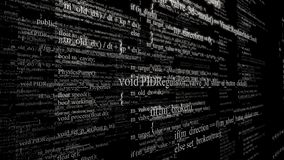 Software source code. Layers of program code on black background. 3d illustration. Technology background stock image
