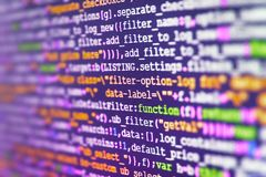 Software source code. Monitor closeup of function source code. Abstract screen of software. Abstract IT technology background stock photos