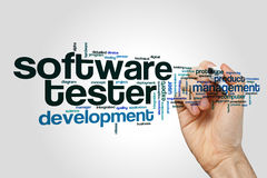 Software tester word cloud. Concept on grey background Royalty Free Stock Photo