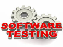 Software testing. Words over metal gears, text in red, white background stock illustration