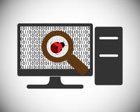 Software testing concept and bug finding process. Vector illustration Royalty Free Stock Photography
