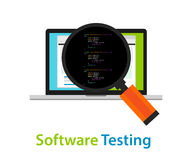 Software testing looking closer close-up to the source code script to find bug Royalty Free Stock Images