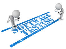 Software testing. Words stamp in blue grunge look, little 3d men checking out for software bugs with magnifying lens vector illustration