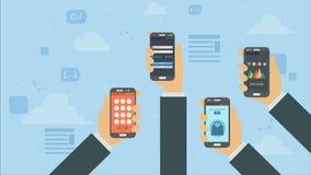 Software und on-line-App mit Ikonen, Bücher und Werkzeuge, Ausbildung und Kaufen lizenzfreie abbildung
