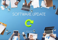 Software Update Website Webpage Networking Concept. Programmers Meeting Software Update Website Webpage Networking royalty free stock images