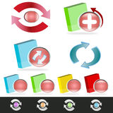 Software upgrade/update. Set of software boxes with upgrade or update symbols Royalty Free Stock Images