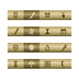 Software web icons on bronze bar Royalty Free Stock Image