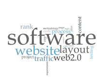 Software word cloud. Software usability word cloud on white background Stock Photo