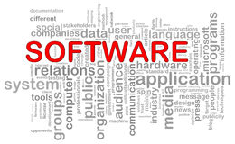 Software word tags. Illustration of computer software wordcloud