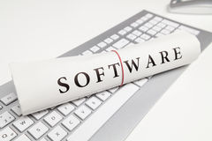 Software. Written on newspaper on desk Stock Photo