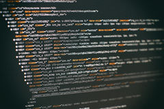 Softwareentwicklerprogrammiercode Abstrakter Computerskriptcode Selektiver Fokus Stockbild