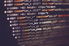 Softwareentwicklerprogrammiercode Abstrakter Computerskriptcode Selektiver Fokus Stockfoto