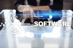 Softwareentwicklung Daten-Digital-Programm-Systemtechnik-Konzept lizenzfreie stockbilder