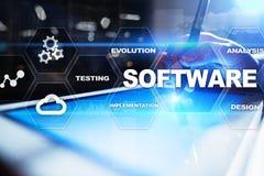 Softwareentwicklung Daten-Digital-Programm-Systemtechnik-Konzept stockfotografie