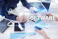 Softwareentwicklung Daten-Digital-Programm-Systemtechnik-Konzept stockfoto