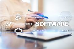 Softwareentwicklung Daten-Digital-Programm-Systemtechnik-Konzept stockbilder