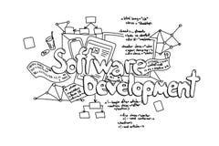 Softwareentwicklung, gezeichnete Illustration des Vektors Hand an lokalisiert stock abbildung