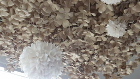 Softy wind flow to paper craft hanging stock footage