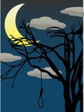 Soga de suspensão da árvore desencapada assustador da lua de um quarto Fotos de Stock Royalty Free
