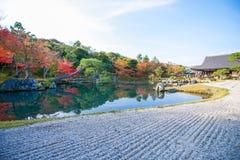 Sogenchi pond garden in autumn season at Tenryuji temple. Kyoto, Japan Stock Images