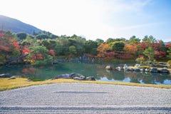 Sogenchi pond garden in autumn season at Tenryuji temple. Kyoto, Japan Stock Photos