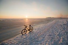 Soggiorno del mountain bike nel mare o nel lago vicino congelato della neve Sfruttamento e manutenzione della bicicletta di inver Fotografia Stock Libera da Diritti