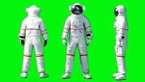Soggiorno dell'astronauta in ozio Schermo verde Animazione realistica 4K illustrazione vettoriale